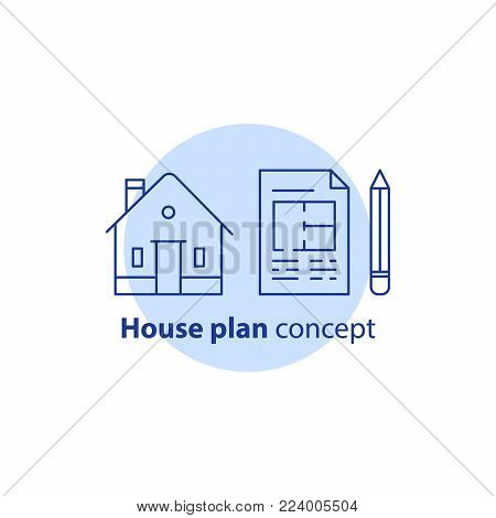 House plan services, home improvement and remodeling concept logo, residential building renovation, blueprint and pencil, vector line icon