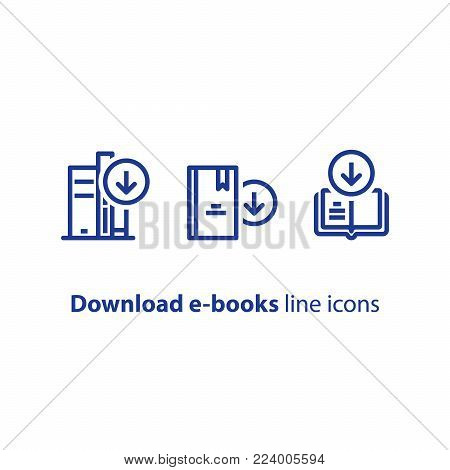 Download e-book line icon, literature book archive vector