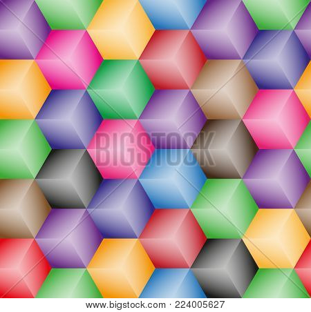 Vector abstract cubes seamless pattern. Wallpaper multicolor.