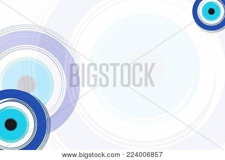 card with blue evil eyes - evil eye vector