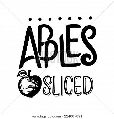 Apple sketch. hand drawn vintage fruit. Sketch and lettering, vegetarian food illustration. Retro style. Slices, fruits. Isolated background
