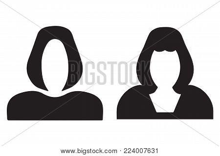 faceless woman figure - black silhouette woman - vector set