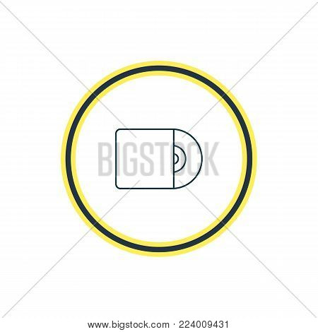 Vector illustration of cd icon line. Beautiful melody element also can be used as compact disk icon element.