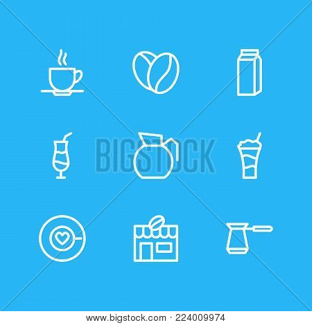 Vector illustration of 9 drink icons line style. Editable set of house, turkish, saucer and other icon elements.