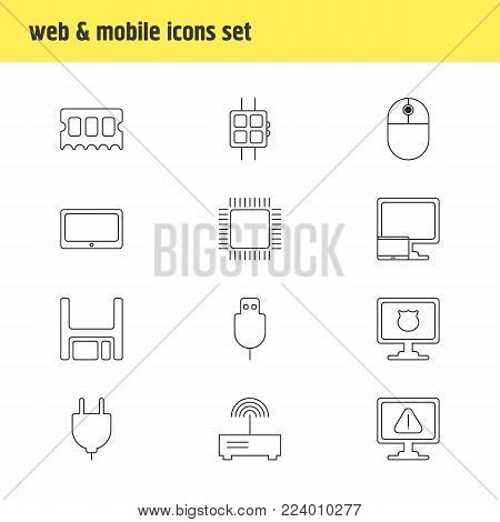 Vector illustration of 12 notebook icons line style. Editable set of protected PC, floppy disk, modem and other icon elements.