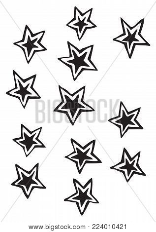 Solid five point stars with detached outline vector drawing illustrations, free-form, irregular, and whimsical, ideal for holidays