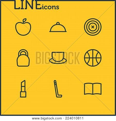 Vector illustration of 9 hobby icons line style. Editable set of weight, learning, fruit and other icon elements.