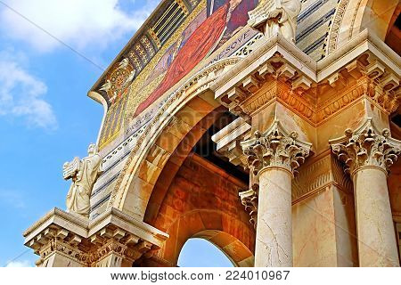 Church of All Nations also known as the Basilica of the Agony. It is a Roman catholic church located on the Mount of Olives, Jerusalem, Israel poster