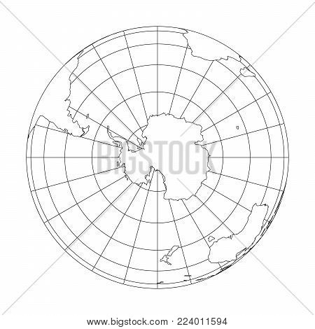 Outline Earth globe with map of World focused on Antarctica. Vector illustration.