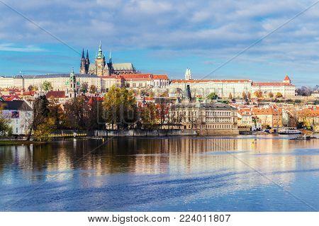 Prague Castle. View from river Vltava. Praha, Bohemia, Czech Republic.