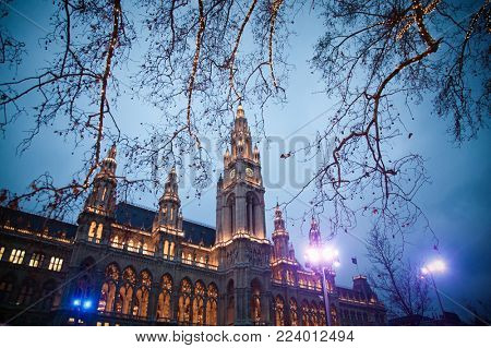 vienna Town Hall and park decorated for Christmas