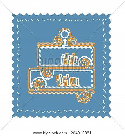 Classic bookshelf with books vector illustration in flat style. Neon Bookshelf flat icon