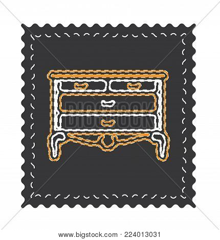Vintage chest of drawers vector, old fancy ornament. chest of drawers icon on black backround