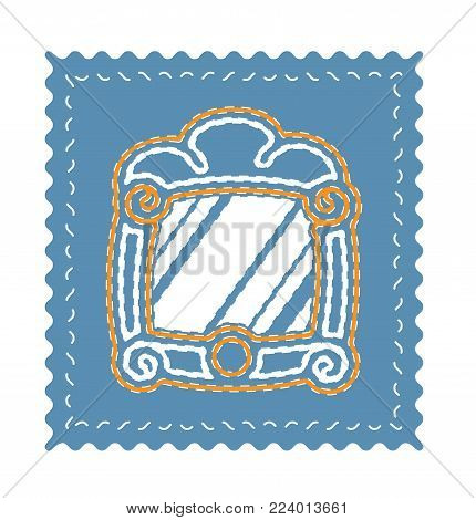 vintage mirror vector on blue background. embroidery mirror icon.