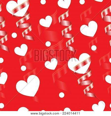 valentines day card - seamless tileable vector - red background with white hearts