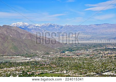 View of Palm Springs and distant San Gorgonio from Earl Henderson hiking trail