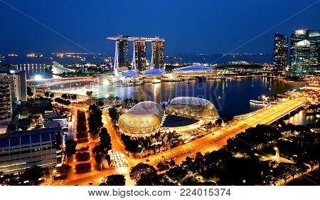 Singapore - May 6, 2017: Panorama Across The Marina Bay