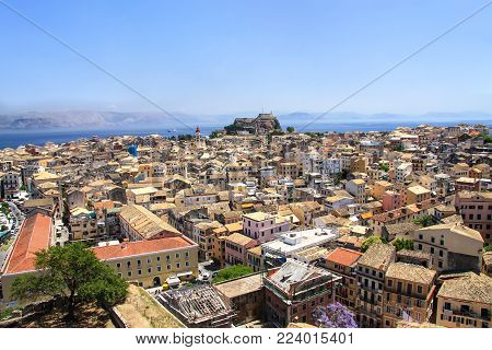 View of the capital of the island of Corfu and the old fortress. Greece