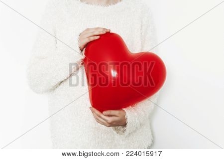 Red Heart In Woman Hands, Isolated On White Backgound. Happy Valentine's Day Concept. Healthcare, Me