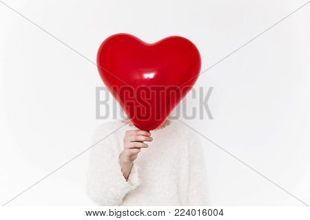 Hands Holding Heart. Happy Valentine's Day Concept. Woman With Red Heart Balloon On White Background
