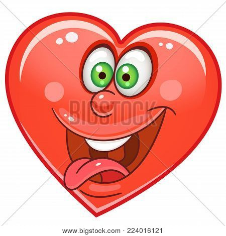 Cartoon crazy red Heart. Emoticons. Smiley. Emoji. Love Emotion symbol. Design element for Valentines Day greeting card, kids coloring book page, t-shirt print, icon, logo, label, patch, sticker.
