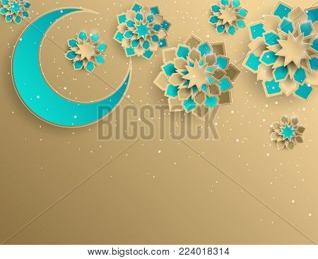 Paper graphic of islamic crescent moon, star shape. Islamic decoration. Golden colors and stardust. Ramadan Kareem - glorious month of Muslim year. Modern 3d paper cut concept