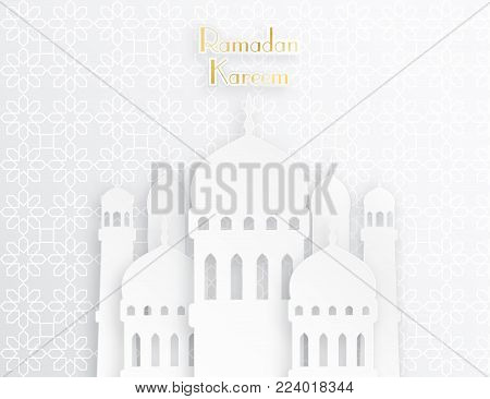 Creative islamic mosque made by paper cutout for holy month of muslim community, Ramadan Kareem celebration. Vector 3D paper mosque.