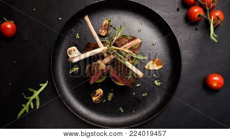 ready made rack of lamb restaurant dish concept. luxury lifestyle. new zealand traditional food.