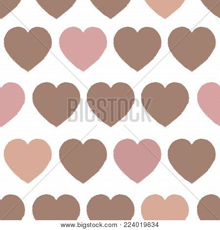 Simply Heart Pastel Pattern, Valentines background. Vector illustration. Pastel palette