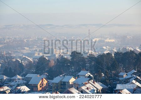 Smog and airpolluton air pollution, Europe, Serbia, Valjevo city, Winter