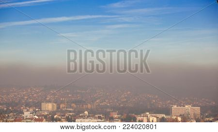 Smog and airpolluton air pollution, Europe, Serbia, Valjevo city