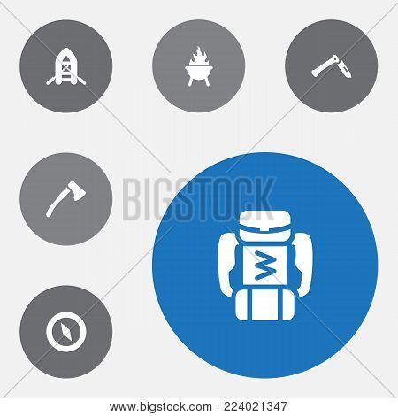 Set of 6 adventure icons set. Collection of rubber boat, baggage, ax and other elements.