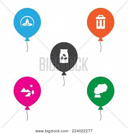 Set of 5 ecology icons set. Collection of air, pollution, eco and other elements.