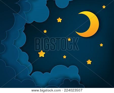 Paper art half moon, rays, fluffy clouds and stars in midnight. Modern 3d origami paper art style. Vector illustration, dark night sky
