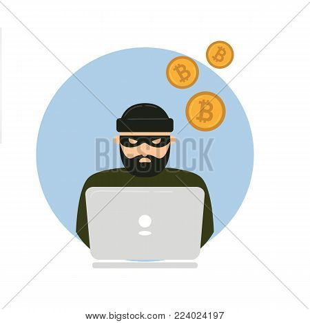 Hacker thief with notebook and bitcoin cryptocurrency. Web unsafe security concept. Swindler try to access internet transaction wallet and stole all currency. Electronic robbery