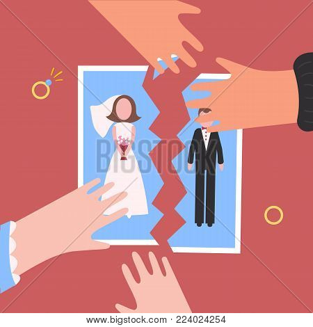 Divorcement. Man and woman hands tear apart wedding photo. Break up of relationship. End of family life. Diamond rings. Disengagement of young former wife and husband. Divorce concept