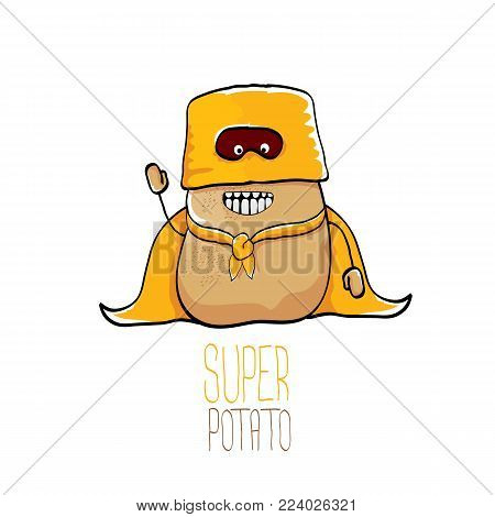 vector funny cartoon cute brown super hero potato with orange hero cape and hero mask isolated on white background. My name is potato vector concept. super funky vegetable food character