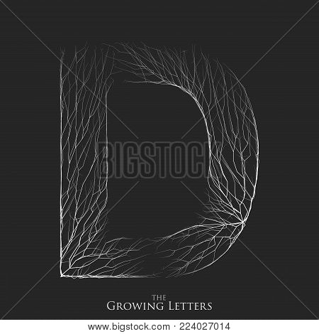 Vector letter D of branch or cracked alphabet. D symbol consisting of growing white lines. Fractured letters. Lighting silhouet of capital letters. Abstract font