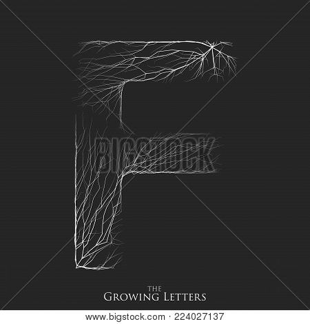 Vector letter F of branch or cracked alphabet. F symbol consisting of growing white lines. Fractured letters. Lighting silhouet of capital letters. Abstract font