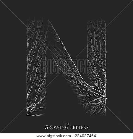 Vector letter N of branch or cracked alphabet. N symbol consisting of growing white lines. Fractured letters. Lighting silhouet of capital letters. Abstract font