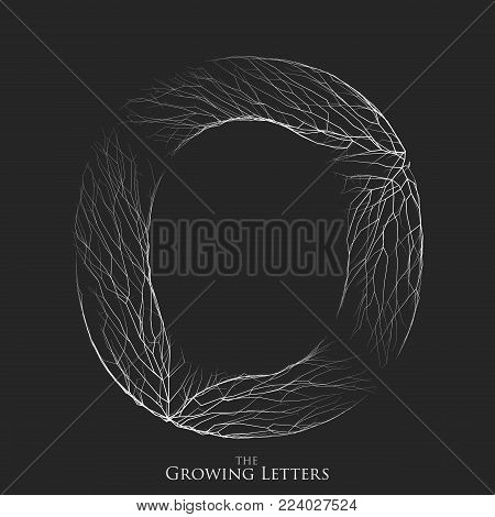 Vector letter O of branch or cracked alphabet. O symbol consisting of growing white lines. Fractured letters. Lighting silhouet of capital letters. Abstract font