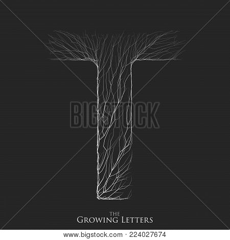 Vector letter T of branch or cracked alphabet. T symbol consisting of growing white lines. Fractured letters. Lighting silhouet of capital letters. Abstract font