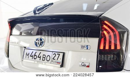 Khabarovsk, Russia - August 3, 2014 : Toyota Prius Gis Hibrid in the Parking lot in Khabarovsk on August 3, 2014