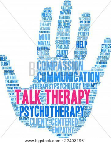 Talk Therapy Word Cloud On A White Background.