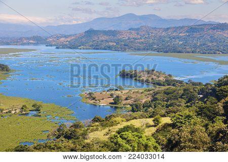 Lake Suchitlan Seen From Suchitoto. Suchitoto, Cuscatlan, El Salvador.