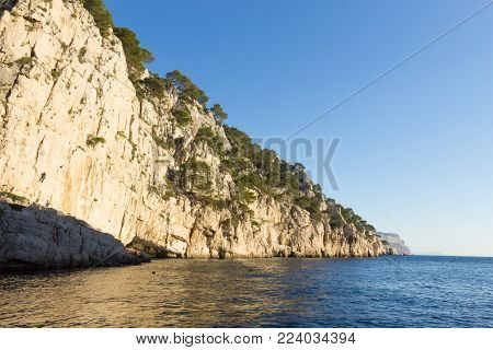 Beautiful Nature Of Calanques On The Azure Coast Of France. Calanques National Park Near Marseille.