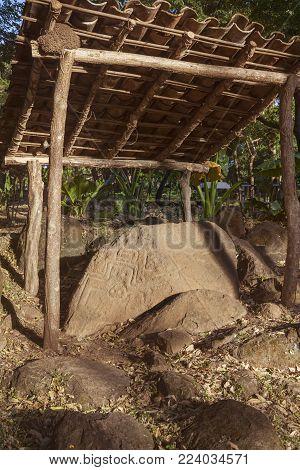 View On Petroglyphs On Ometepe Island. Managua, Nicaragua.