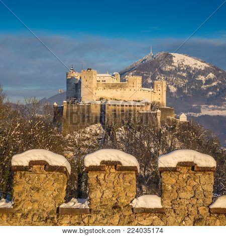 Beautiful view of famous Hohensalzburg Fortress at sunset in winter, Salzburg, Salzburger Land, Austria