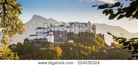 Aerial view of famous Hohensalzburg Fortress in Salzburg in beautiful evening light in fall, Salzburger Land, Austria