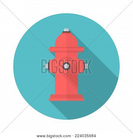 Fire hydrant circle icon with long shadow. Flat design style. Fire hydrant simple silhouette. Modern, minimalist, round icon in stylish colors. Web site page and mobile app design vector element.